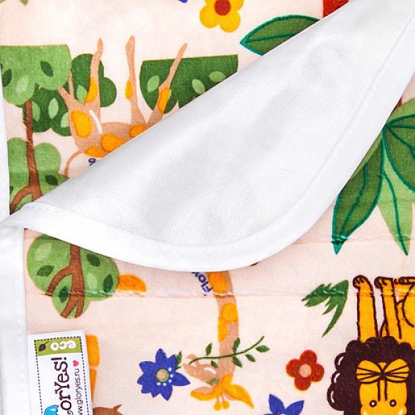 Непромокаемая пеленка GlorYes! Африка 80х68 смНепромокаемые пеленки<br>&amp;lt;p&amp;gt;Непромокаемая пеленка GlorYes! поможет вам каждый день&amp;lt;strong&amp;gt; во время кормления малыша&amp;lt;/strong&amp;gt; и &amp;lt;strong&amp;gt;переодевания одежды и подгузников&amp;lt;/strong&amp;gt;. Мягкая и дышащая, она будет комфортной для ребенка и защитит от протечек мебель и одежду.&amp;lt;/p&amp;gt;<br> <br> &amp;lt;p&amp;gt;В отличие от старого способа &amp;amp;laquo;клеенка + пеленка&amp;amp;raquo;, непромокаемая пеленка имеет один слой, и ваш малыш не окажется на холодной и мокрой клеенке. Она легкая и необъемная, поэтому ее очень удобно захватить с собой в больницу, на массаж, в автокресло и т.д.&amp;lt;/p&amp;gt;<br> <br> &amp;lt;p&amp;gt;- &amp;lt;strong&amp;gt;ткань:&amp;lt;/strong&amp;gt; непромокаемый и дышащий слой (PUL) с мягкой плюшевой поверхностью&amp;lt;br /&amp;gt;<br> - &amp;lt;strong&amp;gt;не пропускает влагу&amp;lt;/strong&amp;gt;: кровати и диваны надежно защищены&amp;lt;br /&amp;gt;<br> - &amp;lt;strong&amp;gt;дышит&amp;lt;/strong&amp;gt;: кожа ребенка не преет, малыш не потеет&amp;lt;br /&amp;gt;<br> - &amp;lt;strong&amp;gt;легко стирается&amp;lt;/strong&amp;gt; и быстро сохнет&amp;lt;br /&amp;gt;<br> - &amp;lt;strong&amp;gt;выдерживает более 2000 стирок&amp;lt;/strong&amp;gt;,&amp;amp;nbsp;не линяет и не теряет яркости&amp;lt;br /&amp;gt;<br> - &amp;lt;strong&amp;gt;используйте &amp;lt;/strong&amp;gt;для подстраховки при переодевании подгузника, при кормлении, срыгиваниях, в качестве коврика. Постелите в коляску, автокресло, положите на развивающий коврик, в кроватку и на пеленальный столик&amp;lt;br /&amp;gt;<br> - &amp;lt;strong&amp;gt;необъемная&amp;lt;/strong&amp;gt;: удобно брать с собой&amp;lt;br /&amp;gt;<br> - в течение дня ее можно протереть и продолжить использовать снова&amp;lt;br /&amp;gt;<br> - &amp;lt;strong&amp;gt;размер&amp;lt;/strong&amp;gt;: 80х68 см&amp;lt;/p&amp;gt;<br> <br> &amp;lt;p&amp;gt;&amp;lt;strong&amp;gt;Как ухаж