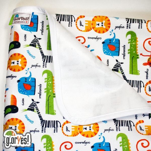 Непромокаемая пеленка GlorYes! Сафари 80х68 смНепромокаемые пеленки<br>&amp;lt;p&amp;gt;Непромокаемая пеленка GlorYes! поможет вам каждый день&amp;lt;strong&amp;gt; во время кормления малыша&amp;lt;/strong&amp;gt; и &amp;lt;strong&amp;gt;переодевания одежды и подгузников&amp;lt;/strong&amp;gt;. Мягкая и дышащая, она будет комфортной для ребенка и защитит от протечек мебель и одежду.&amp;lt;/p&amp;gt;<br><br>&amp;lt;p&amp;gt;В отличие от старого способа &amp;amp;laquo;клеенка + пеленка&amp;amp;raquo;, непромокаемая пеленка имеет один слой, и ваш малыш не окажется на холодной и мокрой клеенке. Она легкая и необъемная, поэтому ее очень удобно захватить с собой в больницу, на массаж, в автокресло и т.д.&amp;lt;/p&amp;gt;<br><br>&amp;lt;p&amp;gt;- &amp;lt;strong&amp;gt;ткань:&amp;lt;/strong&amp;gt; непромокаемый и дышащий слой (PUL) с мягкой плюшевой поверхностью&amp;lt;br /&amp;gt;<br>- &amp;lt;strong&amp;gt;не пропускает влагу&amp;lt;/strong&amp;gt;: кровати и диваны надежно защищены&amp;lt;br /&amp;gt;<br>- &amp;lt;strong&amp;gt;дышит&amp;lt;/strong&amp;gt;: кожа ребенка не преет, малыш не потеет&amp;lt;br /&amp;gt;<br>- &amp;lt;strong&amp;gt;легко стирается&amp;lt;/strong&amp;gt; и быстро сохнет&amp;lt;br /&amp;gt;<br>- &amp;lt;strong&amp;gt;выдерживает более 2000 стирок&amp;lt;/strong&amp;gt;,&amp;amp;nbsp;не линяет и не теряет яркости&amp;lt;br /&amp;gt;<br>- &amp;lt;strong&amp;gt;используйте &amp;lt;/strong&amp;gt;для подстраховки при переодевании подгузника, при кормлении, срыгиваниях, в качестве коврика. Постелите в коляску, автокресло, положите на развивающий коврик, в кроватку и на пеленальный столик&amp;lt;br /&amp;gt;<br>- &amp;lt;strong&amp;gt;необъемная&amp;lt;/strong&amp;gt;: удобно брать с собой&amp;lt;br /&amp;gt;<br>- в течение дня ее можно протереть и продолжить использовать снова&amp;lt;br /&amp;gt;<br>- &amp;lt;strong&amp;gt;размер&amp;lt;/strong&amp;gt;: 80х68 см&amp;lt;/p&amp;gt;<br><br>&amp;lt;p&amp;gt;&amp;lt;strong&amp;gt;Как ухаживать: &amp;lt