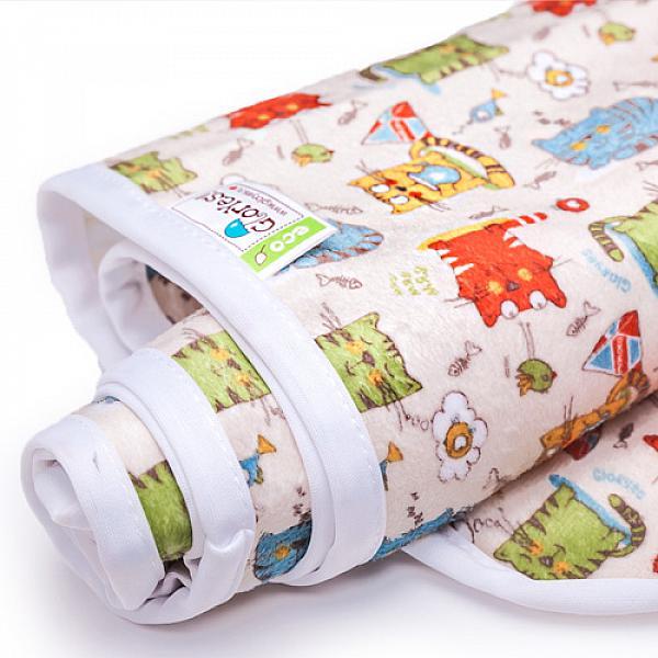 Непромокаемая пеленка GlorYes! Котята 80х68 смНепромокаемые пеленки<br>&amp;lt;p&amp;gt;Непромокаемая пеленка GlorYes! поможет вам каждый день&amp;lt;strong&amp;gt; во время кормления малыша&amp;lt;/strong&amp;gt; и &amp;lt;strong&amp;gt;переодевания одежды и подгузников&amp;lt;/strong&amp;gt;. Мягкая и дышащая, она будет комфортной для ребенка и защитит от протечек мебель и одежду.&amp;lt;/p&amp;gt;<br><br>&amp;lt;p&amp;gt;В отличие от старого способа &amp;amp;laquo;клеенка + пеленка&amp;amp;raquo;, непромокаемая пеленка имеет один слой, и ваш малыш не окажется на холодной и мокрой клеенке. Она легкая и необъемная, поэтому ее очень удобно захватить с собой в больницу, на массаж, в автокресло и т.д.&amp;lt;/p&amp;gt;<br><br>&amp;lt;p&amp;gt;- &amp;lt;strong&amp;gt;ткань:&amp;lt;/strong&amp;gt; непромокаемый и дышащий слой (PUL) с мягкой плюшевой поверхностью&amp;lt;br /&amp;gt;<br>- &amp;lt;strong&amp;gt;не пропускает влагу&amp;lt;/strong&amp;gt;: кровати и диваны надежно защищены&amp;lt;br /&amp;gt;<br>- &amp;lt;strong&amp;gt;дышит&amp;lt;/strong&amp;gt;: кожа ребенка не преет, малыш не потеет&amp;lt;br /&amp;gt;<br>- &amp;lt;strong&amp;gt;легко стирается&amp;lt;/strong&amp;gt; и быстро сохнет&amp;lt;br /&amp;gt;<br>- &amp;lt;strong&amp;gt;выдерживает более 2000 стирок&amp;lt;/strong&amp;gt;,&amp;amp;nbsp;не линяет и не теряет яркости&amp;lt;br /&amp;gt;<br>- &amp;lt;strong&amp;gt;используйте &amp;lt;/strong&amp;gt;для подстраховки при переодевании подгузника, при кормлении, срыгиваниях, в качестве коврика. Постелите в коляску, автокресло, положите на развивающий коврик, в кроватку и на пеленальный столик&amp;lt;br /&amp;gt;<br>- &amp;lt;strong&amp;gt;необъемная&amp;lt;/strong&amp;gt;: удобно брать с собой&amp;lt;br /&amp;gt;<br>- в течение дня ее можно протереть и продолжить использовать снова&amp;lt;br /&amp;gt;<br>- &amp;lt;strong&amp;gt;размер&amp;lt;/strong&amp;gt;: 80х68 см&amp;lt;/p&amp;gt;<br><br>&amp;lt;p&amp;gt;&amp;lt;strong&amp;gt;Как ухаживать: &amp;lt