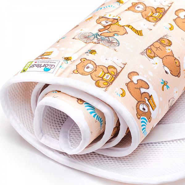 Наматрасник GlorYes! Медвежонок 120х60 смНаматрасники<br>&amp;lt;p&amp;gt;Если ваш малыш спит в кроватке стандартного размера 120x60 (за счет эластичных резинок подойдет и для размера 125x65 см), то лучший способ защитить кровать от влаги &amp;amp;ndash; это непромокаемый дышащий наматрасник GlorYes!&amp;lt;/p&amp;gt;<br> <br> &amp;lt;p&amp;gt;Вы заметите, что он &amp;lt;strong&amp;gt;не смещается с матраца&amp;lt;/strong&amp;gt;, позволяет коже малыша &amp;lt;strong&amp;gt;дышать&amp;lt;/strong&amp;gt;, приятный и теплый для кожи и &amp;lt;strong&amp;gt;не создает острых углов&amp;lt;/strong&amp;gt;, как обычные клеенки.&amp;lt;/p&amp;gt;<br> <br> &amp;lt;p&amp;gt;&amp;lt;strong&amp;gt;верхний мягкий и дышащий водонепроницаемый слой &amp;lt;/strong&amp;gt;(полиэстер) с красивыми расцветками&amp;lt;br /&amp;gt;<br> &amp;lt;strong&amp;gt;нижний 3D слой против скольжения&amp;lt;/strong&amp;gt; по матрацу&amp;lt;br /&amp;gt;<br> &amp;lt;strong&amp;gt;хорошая вентиляция воздуха&amp;lt;/strong&amp;gt;:&amp;amp;nbsp;кожа малыша не преет&amp;lt;br /&amp;gt;<br> &amp;lt;strong&amp;gt;не сминается&amp;lt;/strong&amp;gt; и не смещается:&amp;amp;nbsp;закрепляется за все 4 стороны матраца эластичными резинками&amp;lt;br /&amp;gt;<br> &amp;lt;strong&amp;gt;не шуршит&amp;lt;/strong&amp;gt; за счет мягкого верхнего слоя&amp;lt;br /&amp;gt;<br> приятный для тела и &amp;lt;strong&amp;gt;нехолодный&amp;lt;/strong&amp;gt;: на него можно положить малыша без одежды во время игры&amp;lt;br /&amp;gt;<br> &amp;lt;strong&amp;gt;очень хорошо отстирывается&amp;lt;/strong&amp;gt; и быстро сохнет&amp;lt;br /&amp;gt;<br> выдерживает более 2000 стирок&amp;amp;nbsp;&amp;lt;br /&amp;gt;<br> &amp;lt;strong&amp;gt;размер&amp;lt;/strong&amp;gt;: 120x60 см (подходит для стандартных кроваток 120х60 и 125х65 см)&amp;lt;/p&amp;gt;<br> <br> &amp;lt;p&amp;gt;&amp;lt;strong&amp;gt;Как ухаживать:&amp;lt;/strong&amp;gt;&amp;lt;/p&amp;gt;<br> <br> &amp;lt;p&amp;gt;1) максимальная температура стирки: 40&amp;amp;