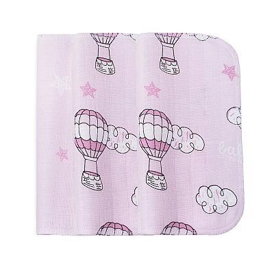 Набор платочков из муслина GlorYes! Розовые звезды и воздушные шары, 3 шт.