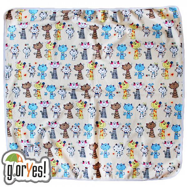 Купить Непромокаемая пеленка GlorYes! Коты на бежевом 80х68 см