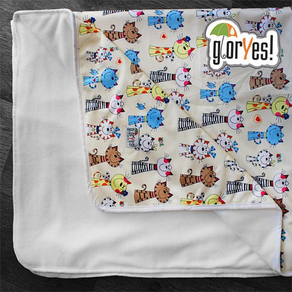 Впитывающая пеленка GlorYes! Коты на бежевом 120х100 см от GlorYes!