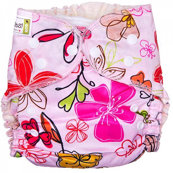 Купить Многоразовый подгузник GlorYes! для приучения к горшку NEW Цветы 3-18 кг + два вкладыша