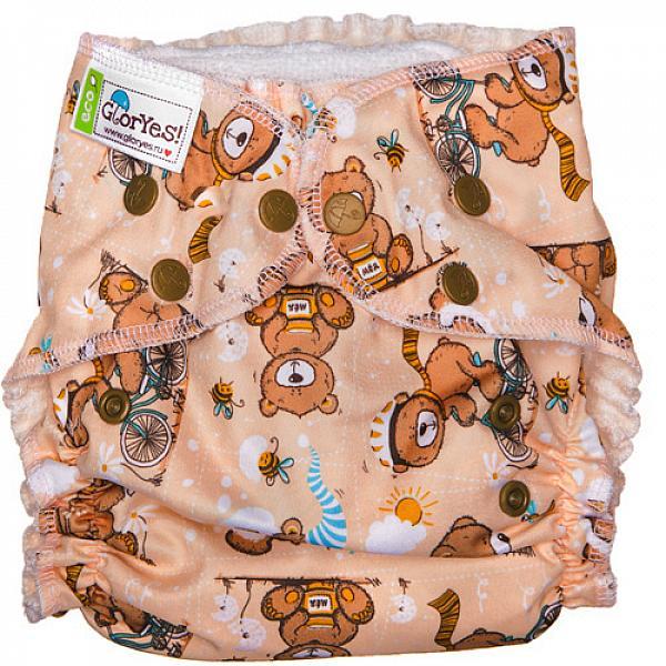 Купить Многоразовый подгузник GlorYes! для приучения к горшку NEW Медвежонок 3-18 кг + два вкладыша