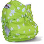 Многоразовый подгузник GlorYes! для приучения к горшку Звезды на зеленом 3-15 кг + два вкладыша