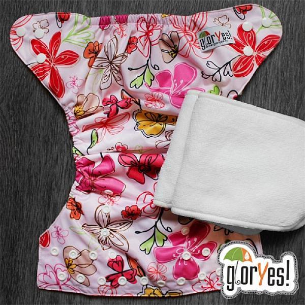 Купить Многоразовый подгузник GlorYes! для приучения к горшку Цветы 3-15 кг + два вкладыша, GlorYes!