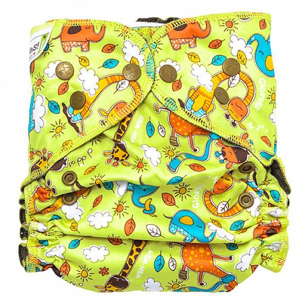 Купить Многоразовый подгузник GlorYes! OPTIMA NEW Жирафы 3-18 кг + два вкладыша