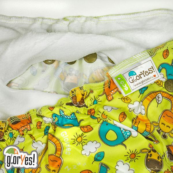 Многоразовый подгузник GlorYes! CLASSIC+ Жирафы 3-18 кг + два вкладыша от GlorYes!