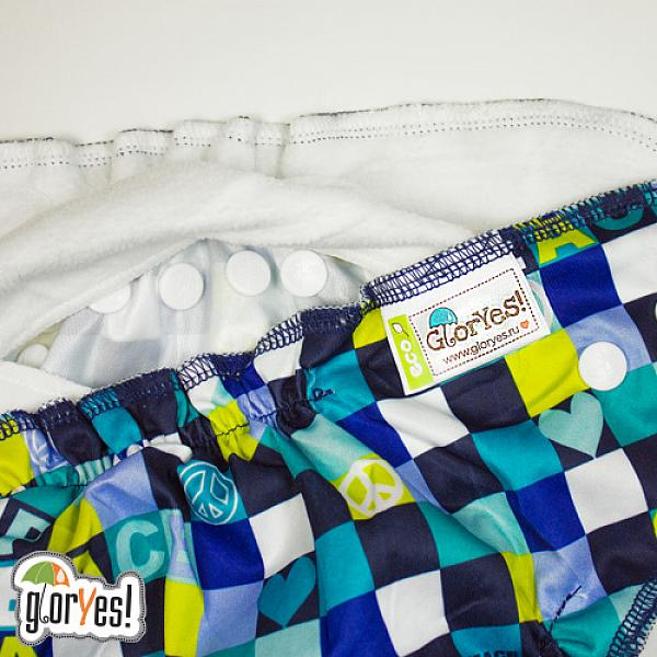 Многоразовый подгузник GlorYes! CLASSIC+ Мозаика 3-18 кг + два вкладыша от GlorYes!