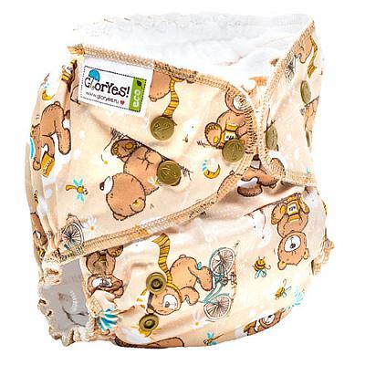 Многоразовый подгузник GlorYes! CLASSIC+ Медвежонок 3-18 кг + два вкладыша
