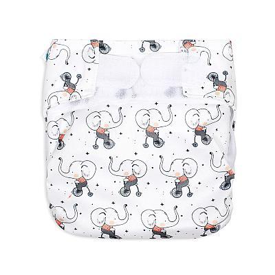 Многоразовый подгузник для новорожденных GlorYes! Велогонки со слонами all-in-one