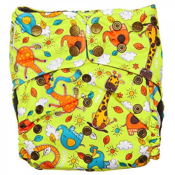 Купить Многоразовый подгузник GlorYes! PREMIUM Жирафы 3-18 кг + два вкладыша