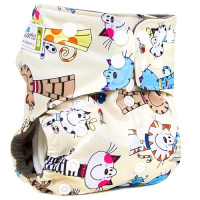 Многоразовый подгузник GlorYes! PREMIUM Коты на бежевом 3-18 кг + два вкладыша