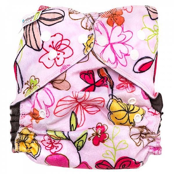 Купить Многоразовый подгузник GlorYes! OPTIMA плюшевый NEW Цветы 3-18 кг + два вкладыша