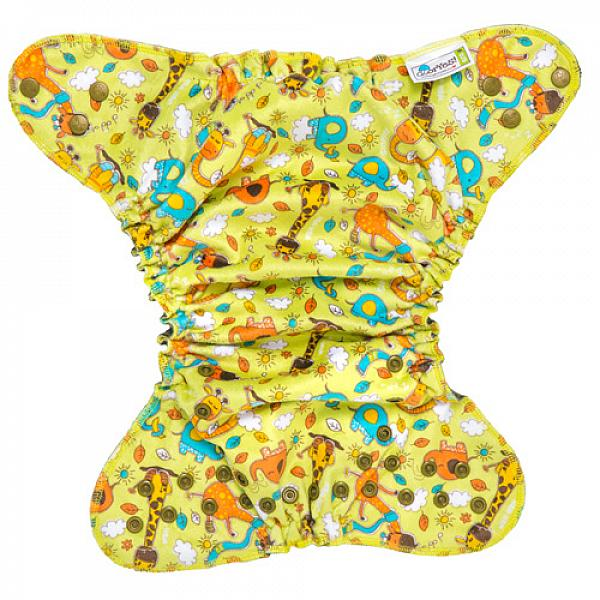 Многоразовый подгузник GlorYes! OPTIMA плюшевый NEW Жирафы 3-18 кг + два вкладыша от GlorYes!