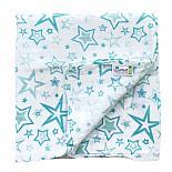 Муслиновая пеленка GlorYes! Голубые звезды 120х120 см