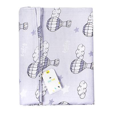 Муслиновая пеленка GlorYes! Воздушные шары серые 130х130 см