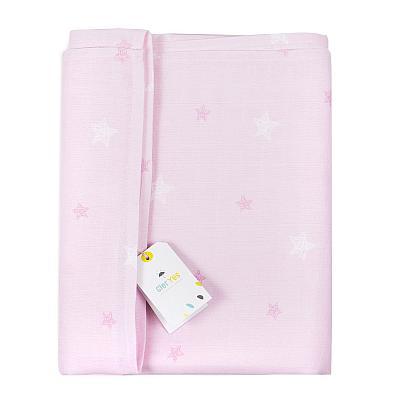 Муслиновая пеленка GlorYes! Розовые звезды 130х130 см