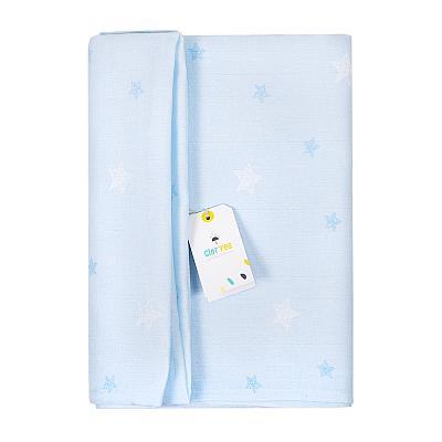 Муслиновая пеленка GlorYes! Голубые звезды 130х130 см