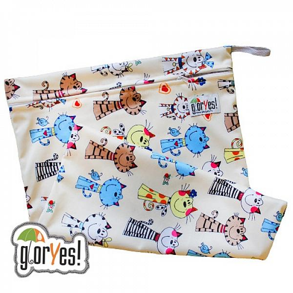 Непромокаемая сумка GlorYes! Коты на бежевом